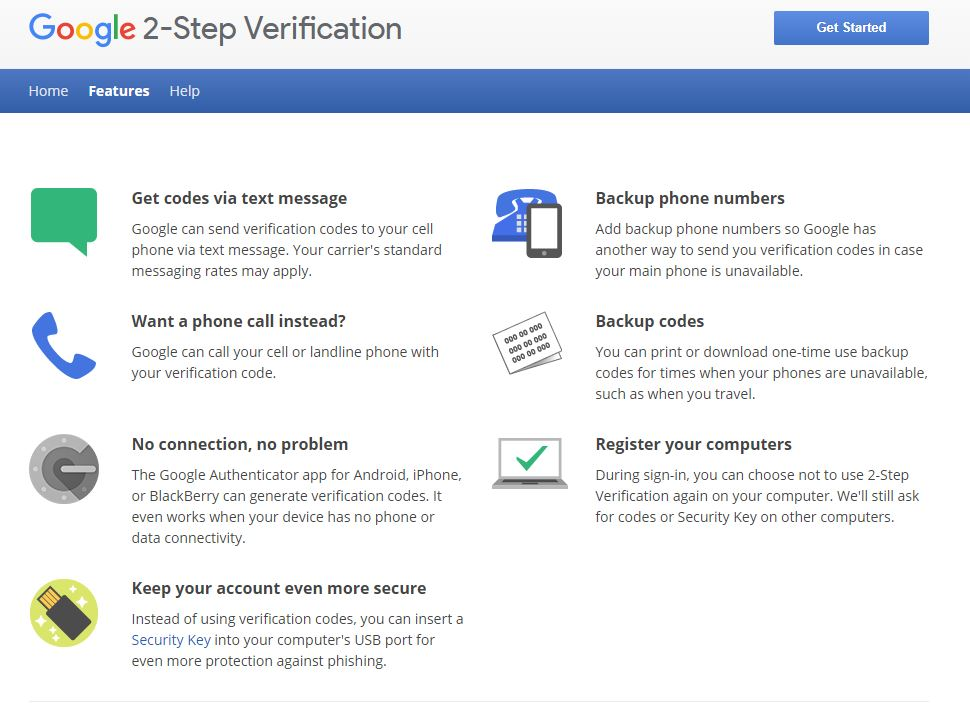 google 2 step verification, alternatives